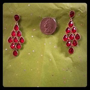 High Fashion Red Rhinestone Earrings